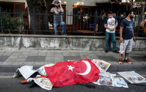 A civilian killed by Turkish soldiers lies on a ground Istanbul on July 16, 2016. At least 60 people were killed during an attempted military coup inTurkey overnight, a senior official said on Saturday. The number of military personnel detained now after the coup attempt has risen to 1,563. (Photo by Erhan Demirtas/NurPhoto via Getty Images)