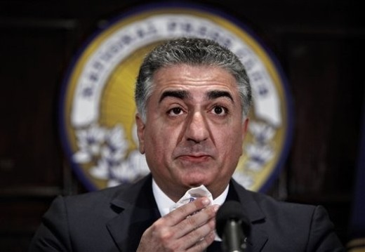 Reza Pahlavi, Iran's former crown prince, becomes emotional as he talks about the uprising in Iran over the disputed presidential election, Monday, June 22, 2009, at the National Press Club in Washington. Reza Pahlavi, who was forced into exile with his father, the shah, during the 1979 Islamic revolution, has been a leading advocate of a campaign for civil disobedience against the clerical regime that has used violence to shut down mostly peaceful demonstrations. (AP Photo/J. Scott Applewhite)